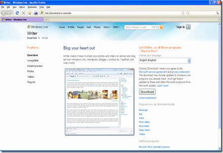 Windows Live Writer download page