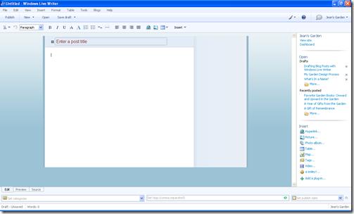 Basic Editing Screen, Windows Live Writer