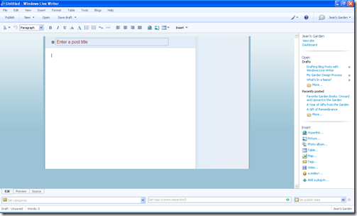 Basic Editing Screen, Windows Live Writer