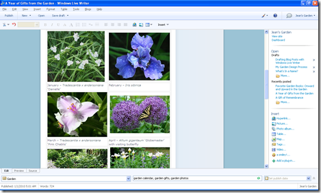Use of tables to keep photos and text in place in Windows Live Writer