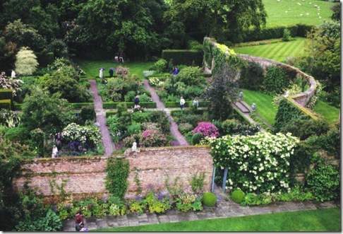 View of some of Sissinghurst's garden rooms from the writing tower (photo credit: Jean Potuchek)