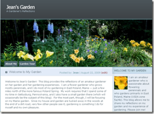 First blog post, Jean's Garden - screenshot