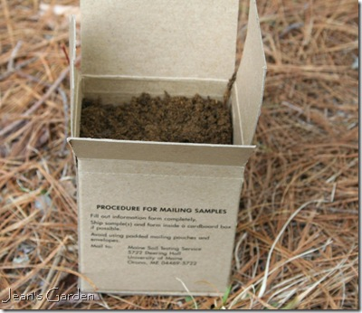 Box provided by soil lab, filled with soil for testing (photo credit: Jean Potuchek)