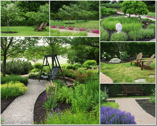 Seating areas in the garden at Pineland Farms invite visitors to sit and rest (photo credits: Jean Potuchek)